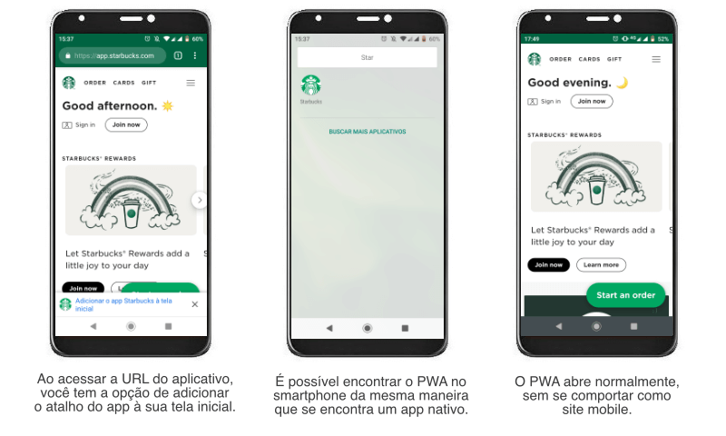 exemplo de PWA progressive web app starbucks 1 | Aplicativo nativo